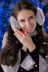 Winter Girl with Small Gift Box