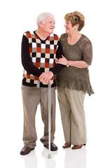 senior couple talking to each other