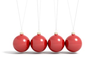 Render of red christmas balls in pendulum