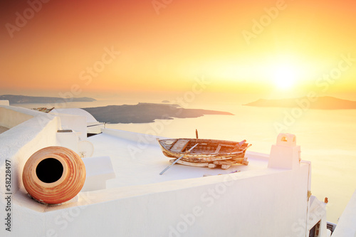 A detail of traditional house at Santorini island on sunset