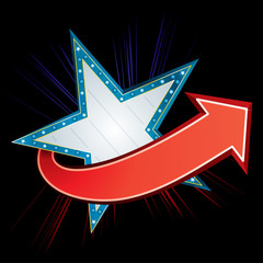Blue star neon with red arrow