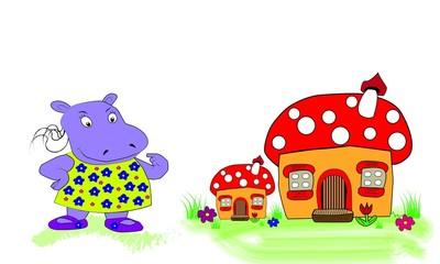 Casitas infantiles e hipopótamo