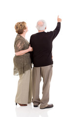 rear view of senior couple pointing