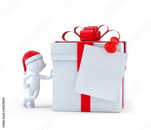 Christmas gift box with blank card