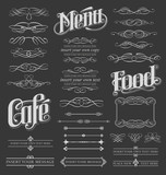 Calligraphic and Decorative Chalkboard Design Elements for Menus