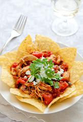 closeup of chicken chilaquiles