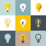 Creative light bulb. Collection of design elements