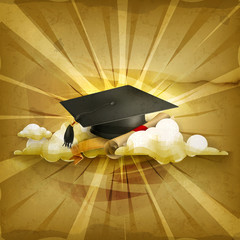 Graduation cap and diploma, old style background