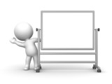3D Man waving from behind large whiteboard