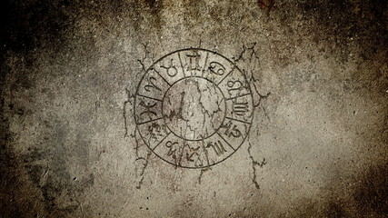 Zodiac wheel on a stone wall, animation