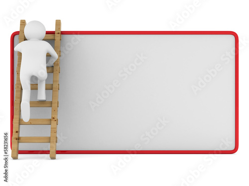 man clambering on poster. Isolated 3D image