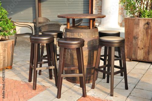 In de dag Buffet, Bar Circle wooden chair, local restaurant.