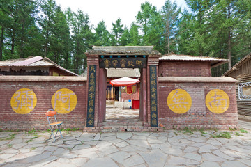 ancient Chinese traditional architectural landscape in a park
