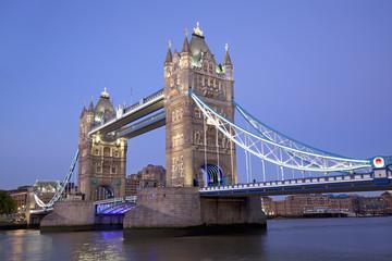 Tower Bridge at dusk, London, England