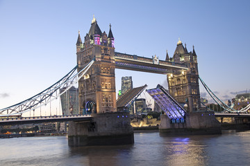 Tower Bridge at dusk, London, England