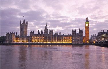 Houses of Parliament and Big Ben at sunset, London, England