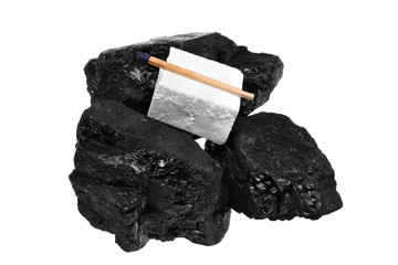 Coal cube firelighters and match