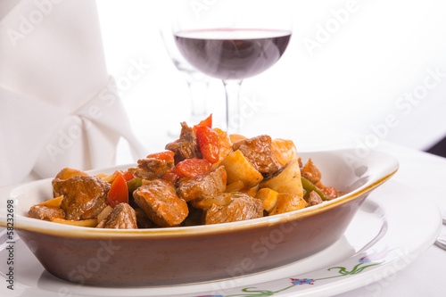 Beef Saute in Oval Baking Dish with Red Wine