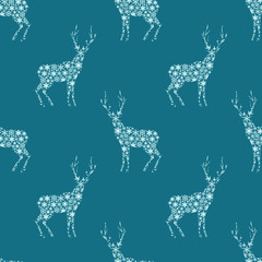 Winter holidays pattern with deer ornamental silhouettes