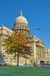 Idaho state capital building with autumn trees