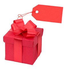 Red gift box with a price tag