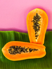 Papaya half cut