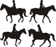 girl on horse - dressage silhouettes