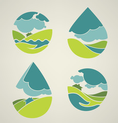 vector collection of lovely landscape and nature symbol