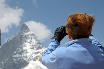 Taking photo of Matterhorn in Swiss Alps
