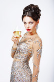 Elegant woman with a glass of champagne.