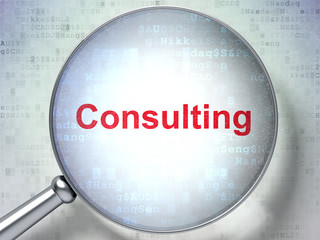 Business concept: Consulting with optical glass