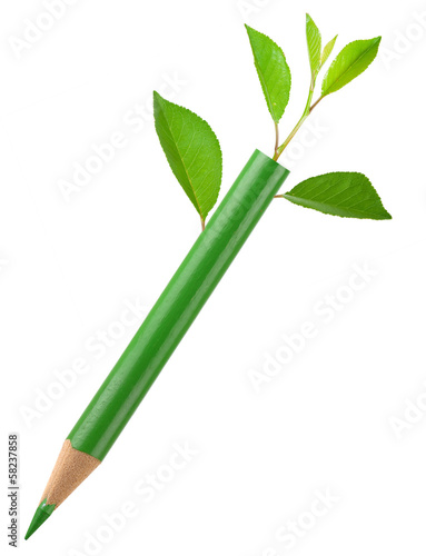Eco green pencil with leafs