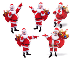 Santa claus in various action