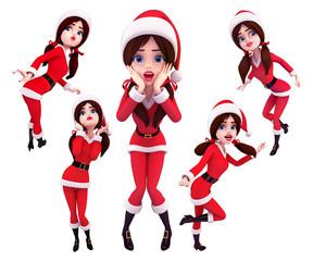 Santa girl in various action