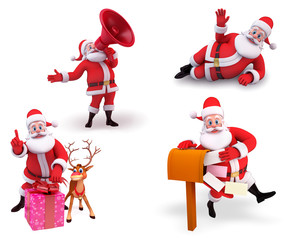 Santa claus in various action