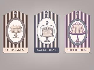 vintage labels with desserts