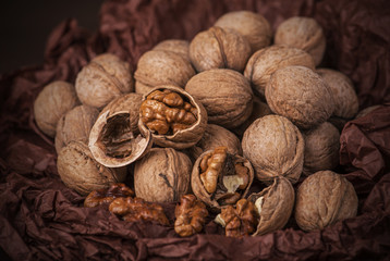 Walnuts on brown paper
