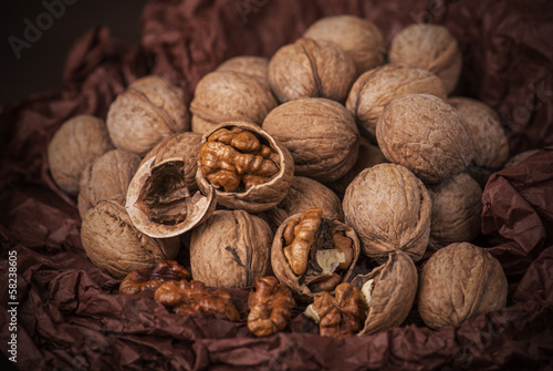 Walnuts on brown paper