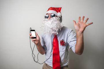 funny santa claus babbo natale listening music
