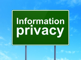 Safety concept: Information Privacy on road sign background