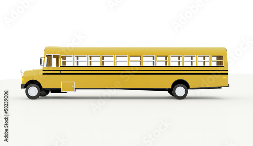 Yellow school bus isolated on white