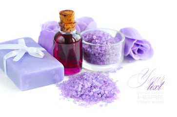Lavender oil, sea salt and soap. Spa concept