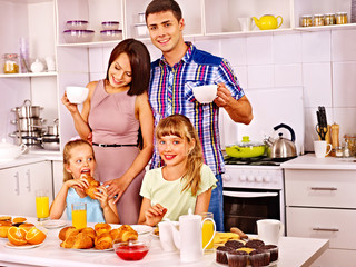 Parents prepare  breakfast.