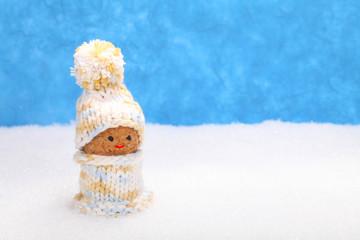 Wichtel im Schnee mit Winterkleidung