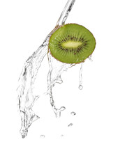 water being poured in a slice of kiwi  isolated on white