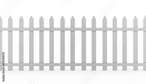 Vintage fence rendered on white