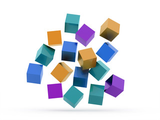 Many colored cubes concept rendered