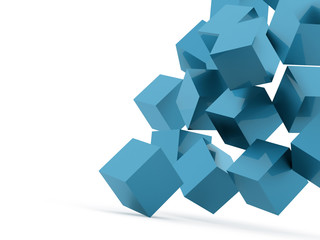 Blue cubes concept rendered on white © pupes1