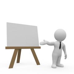 Ein Geschäftsmann erklärt etwas vor einem Whiteboard