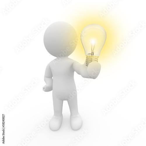 canvas print picture Mr. Smart Guy hält eine Lampe